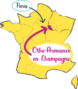 Map of France with the location of the Land of Othe and Armance in Champagne - Paris located nearby